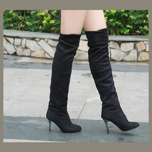 """Over The Knee Scrunchy Stretch Faux Leather Suede 3"""" High Heel Stiletto Boots image 2"""