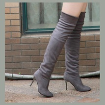 """Over The Knee Scrunchy Stretch Faux Leather Suede 3"""" High Heel Stiletto Boots image 3"""