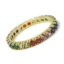 SOLID 18K YELLOW GOLD ETERNITY BAND RING, MULTI COLOR, RAINBOW CUBIC ZIRCONIA image 3
