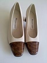 Etienne Aigner Size 6M Ivory Bone Cream Brown D... - $26.95