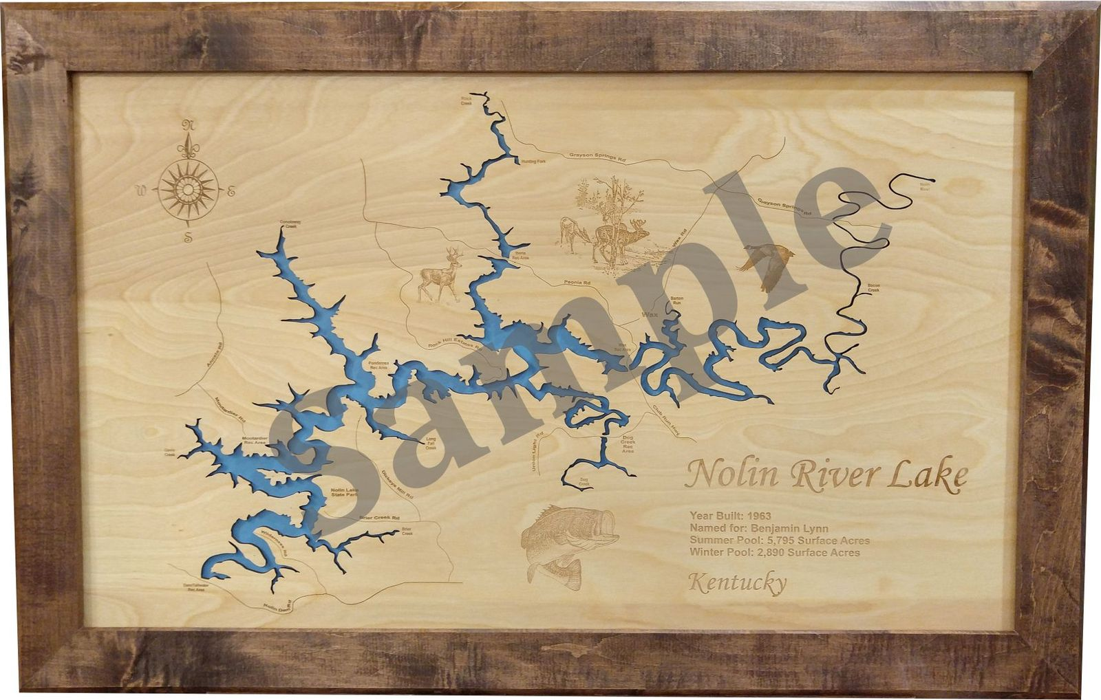 Moss Lake, Texas - Laser Engraved Wood Map and 50 similar items
