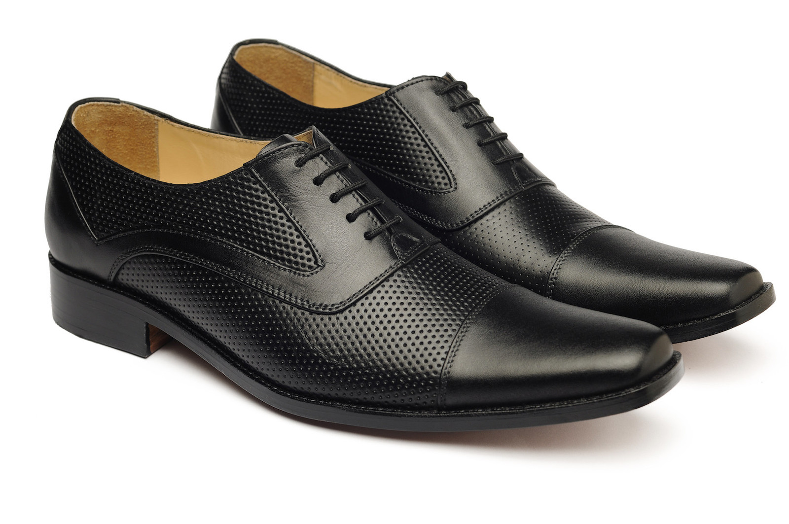 HANDMADE BLACK OXFORD PERFORATED SHOES, MEN'S BLACK DRESS SHOES,  REAL LEATHER
