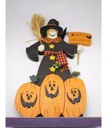 """Halloween Decorative Wooden Foot Base Scarecrow """"Happy Halloween"""" Tabletop - $21.78"""