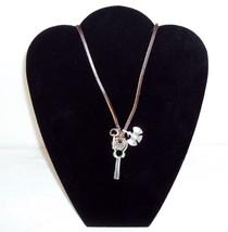 Necklace ~ Leather Strap w/3 Metal Pendants ~ Guitar, Key & Phoenix ~  #5410130 - $9.75