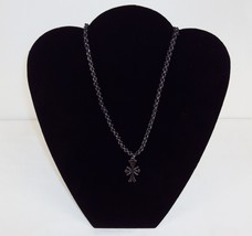 Necklace ~ Interwoven Leather & Rolo Chain w/Feathered Cross Pendant ~ #5410110 - $9.75