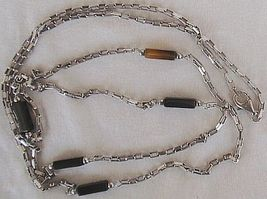 Fashion silver  black links necklace thumb200