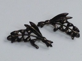 INTERESTING VINTAGE STERLING SILVER EARRINGS LILY OF THE VALLEY - $25.73