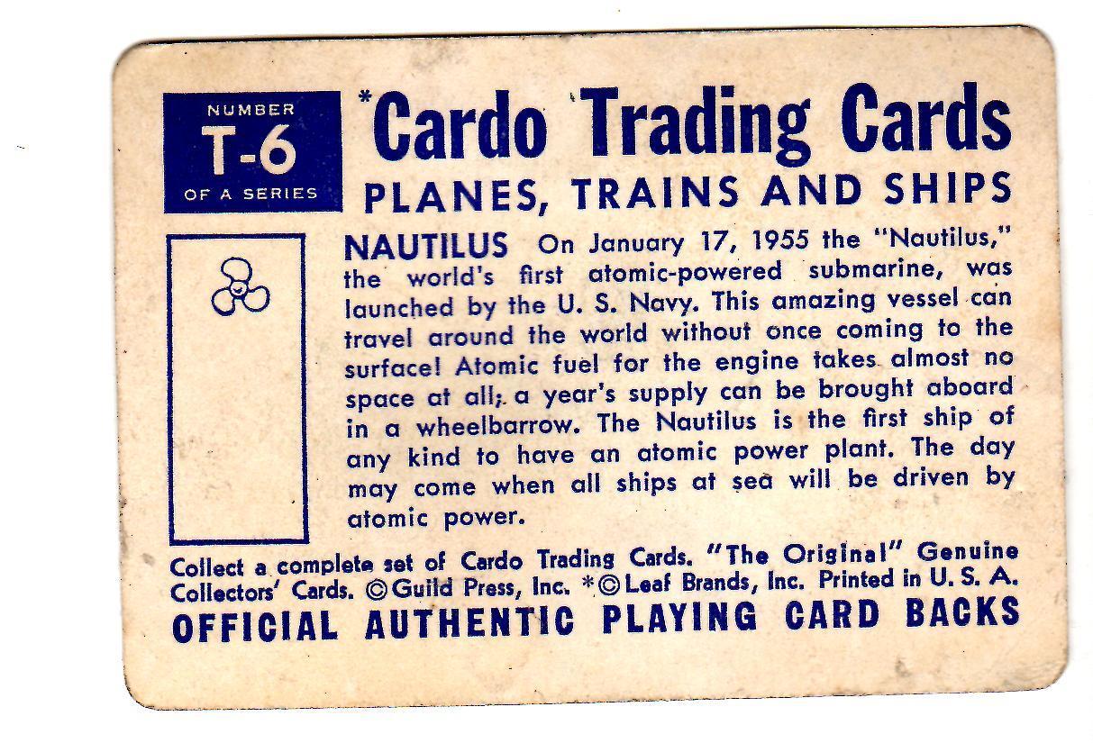 Nautilus Atomic Powered Submarine - Cardo Trading Cards Planes, Trains & Ships