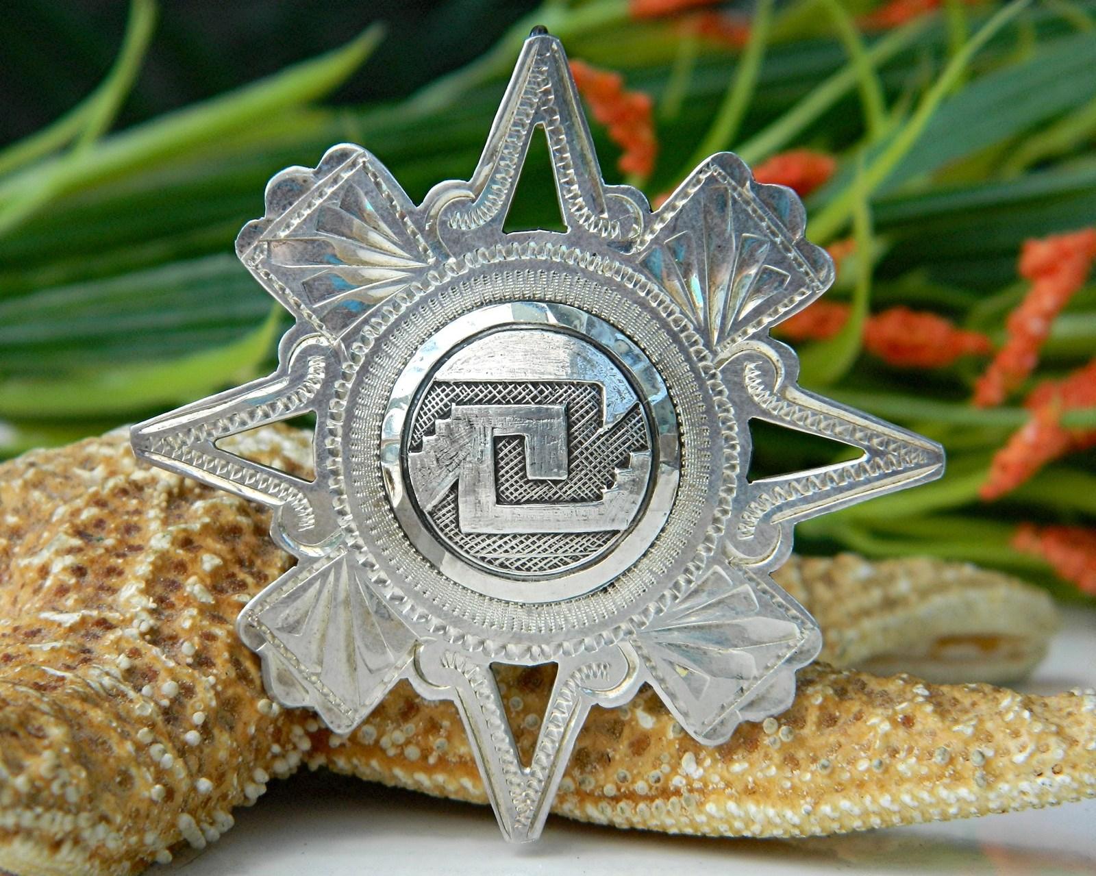 Vintage Mexico Sterling Silver 925 Star Brooch Pendant EVB