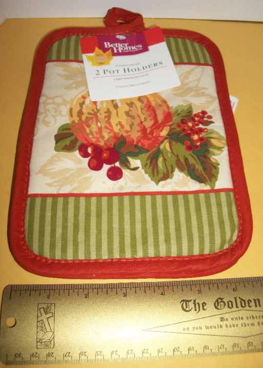 Primary image for Better Homes Potholder Set BHG Pumpkin Harvest Kitchen Holiday Pot Holder Pair
