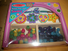 Craft Gift Bead Kit Melissa & Doug Jewelry Making Set Wooden Beadcraft A... - $14.24