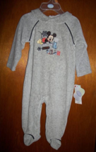 Disney Mickey Mouse Baby Clothes 3M-6M Gray Footed Playsuit Outfit Hat C... - $16.14