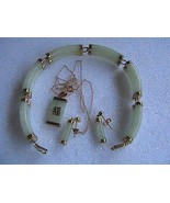 Vintage 14k Solid Yellow Gold Jadeite Jade Bracelet, Earrings & Necklace... - $750.00