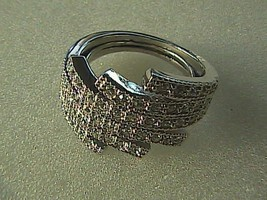 Estate Crystal White Rhinestone Silver Tone Ring - $20.00
