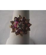 Vintage Gold Vermeil 925 1.30 carats White & Purple CZ Ring 4.2 grams - $40.00