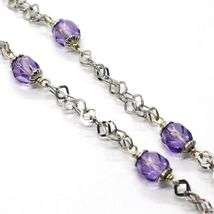 Silver necklace 925, Disk Pendant, Butterfly Overlay Purple balls image 3