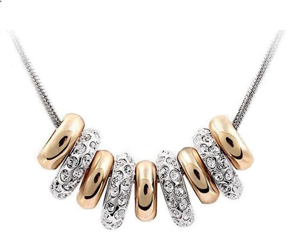 Primary image for Swarovski Elements Gold Plated Nine Ring Pendant Necklace