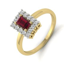 Red Garnet And White Diamond Ring Wedding Proposal Ring Eternity Ring Fr... - $119.99