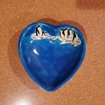 Vintage Trinket Dish, Blue Soapstone Heart & Handpainted Penguins, Made in Kenya image 1