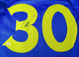 STEPHEN CURRY / AUTOGRAPHED GOLDEN STATE WARRIORS BLUE CUSTOM JERSEY / COA image 3
