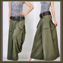 Wide Leg Open Fly Big Pockets Cargo Pleated Trousers Army Green Gray and... - $78.95