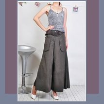 Wide Leg Open Fly Big Pockets Cargo Pleated Trousers Army Green Gray and Black image 2