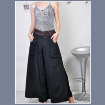 Wide Leg Open Fly Big Pockets Cargo Pleated Trousers Army Green Gray and Black image 3
