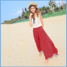 Long Sheer Chiffon Bohemian Gauze Pleated Harem Coulott Pants in Many Colors image 5