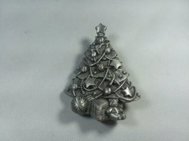 Ms. Dee Pewter Christmas Tree Brooch Pin Earrings Signed Holiday  - $13.75