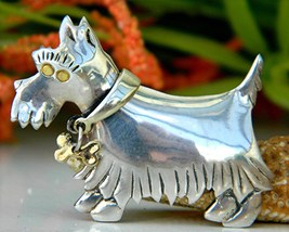 Scottish terrier scotty dog pin brooch 925 sterling silver thumb200