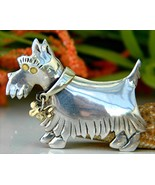 Scottish Terrier Scotty Dog Pin Brooch Sterling Silver 925