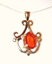 Flawless Mexican Fire Opal / 10k Gold Pendant from KT Elegant Jewelry - $239.95
