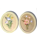Pair of Flower Paintings signed WESTON chippy wood oval frames cottage c... - $28.00