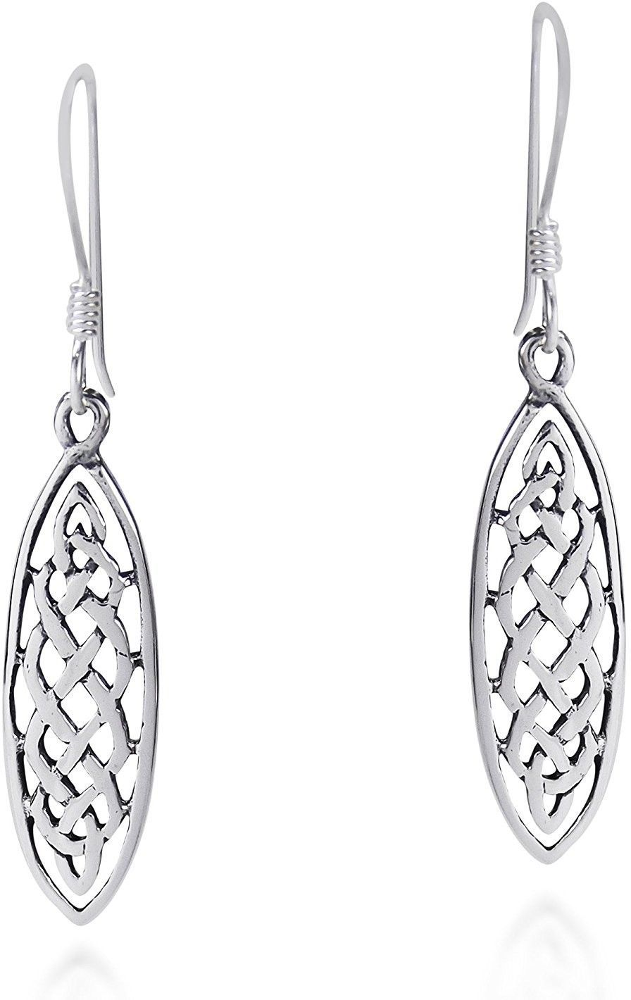 Primary image for Marquise Celtic Drop .925 Sterling Silver Dangle Earrings