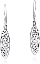 Marquise Celtic Drop .925 Sterling Silver Dangle Earrings - $54.94