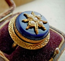 Antique Victorian Revival Lapis Glass Faux Split Pearl 8 Point Star Ring... - $23.76