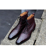 New Men's Handmade Burgundy Color Lace Up Brogue Ankle High Leather Boots - $159.99+