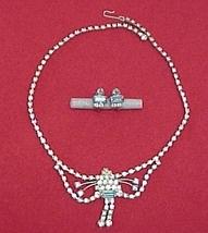 Blue Rhinestone Necklace Earrings Vintage Jewelry Set - $24.95