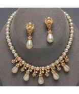 Gold tone Cream Pearl Crystal Bridal Evening necklace set clip earring m... - $22.00