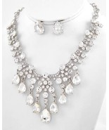 Clear teardrop glass crystal bridal necklace set princes pageant evening... - $56.00