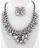 Chunky Clear Crystal Necklace Set Wedding Bride Prom Evening Formal jewelry - $49.00