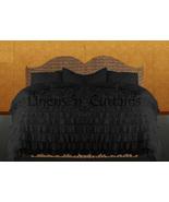 LinensnCurtains Waterfall Ruffle BLACK Bedspread Set 3pc - $169.00+