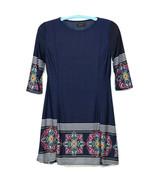 Reborn Womens Dress Blue Size M Medium 3/4 Sleeve Stretch Boho - $39.55