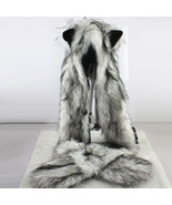 Women Fashion Wolf Ears Paws Faux Fur Hats Scarf Mittens Outdoor Winterw... - $15.42