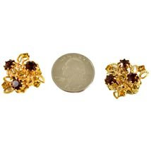 Vintage Karu Arke Gold Tone Clip On Earrings with Amber Brown Accents Austria image 8