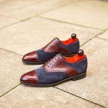 Handmade Men Burgundy & Blue Heart Medallion Leather & Suede Dress Oxford Shoes image 1