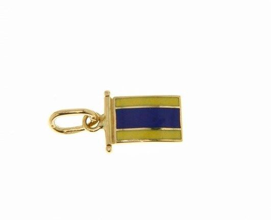 18K YELLOW GOLD NAUTICAL GLAZED FLAG LETTER D PENDANT CHARM MEDAL MADE IN ITALY