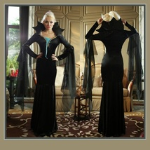 Classic Black Vamp  Pointed Collar Immortal Mistress Witches Gown Flare Sleeves