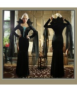 Classic Black Vamp  Pointed Collar Immortal Mistress Witches Gown Flare ... - $114.89