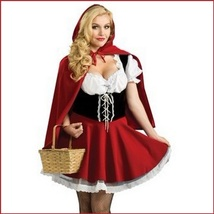 """Hey There Little RED RIDING HOOD"" Costume Includes Removable Hooded Cape Cloak"